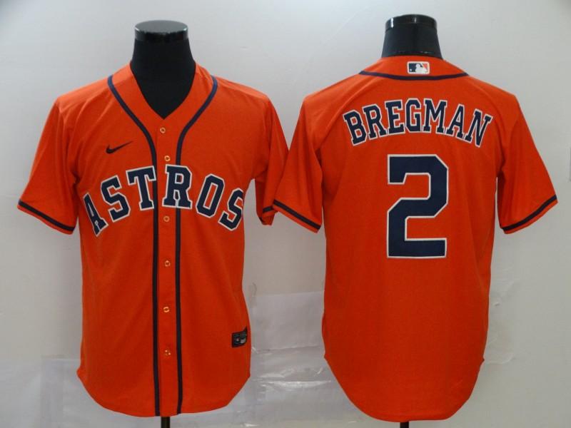 Men's Houston Astros #2 Alex Bregman Orange Stitched MLB Cool Base Nike Jersey