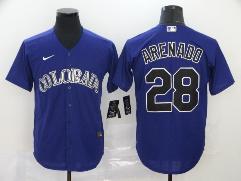 Men's Colorado Rockies #28 Nolan Arenado Purple Stitched MLB Cool Base Nike Jersey