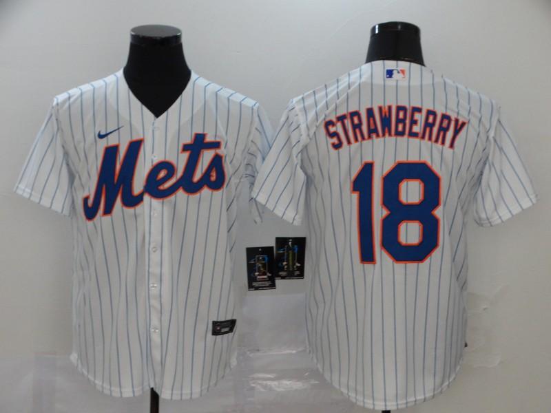 Men's New York Mets #18 Darryl Strawberry White Stitched MLB Cool Base Nike Jersey
