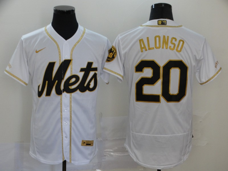 Men's New York Mets #20 Pete Alonso White With Gold Stitched MLB Flex Base Nike Jersey