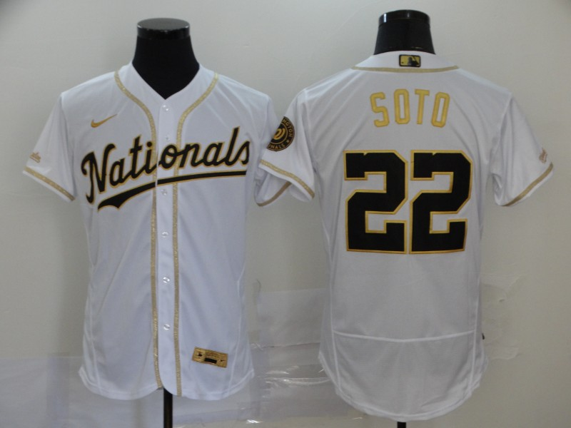 Men's Washington Nationals #22 Juan Soto White With Gold Stitched MLB Flex Base Nike Jersey