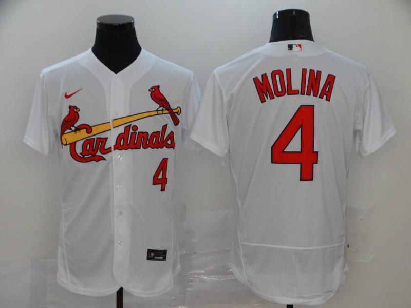Men's St. Louis Cardinals #4 Yadier Molina White Stitched MLB Flex Base Nike Jersey