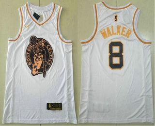 Men's Boston Celtics #8 Kemba Walker White Golden Nike Swingman Stitched NBA Jersey