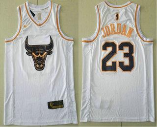 Men's Chicago Bulls #23 Michael Jordan White Golden Nike Swingman Stitched NBA Jersey