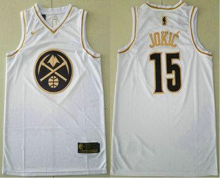 Men's Denver Nuggets #15 Nikola Jokic White Golden Nike Swingman Stitched NBA Jersey