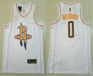 Men's Houston Rockets #0 Russell Westbrook White Golden Nike Swingman Stitched NBA Jersey