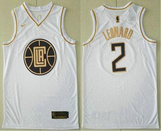 Men's Los Angeles Clippers #2 Kawhi Leonard White Golden Nike Swingman Stitched NBA Jersey