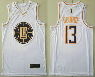 Men's Los Angeles Clippers #13 Paul George White Golden Nike Swingman Stitched NBA Jersey
