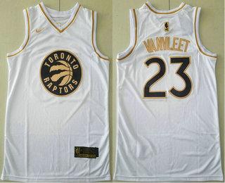 Men's Toronto Raptors #23 Fred VanVleet White Golden Nike Swingman Stitched NBA Jersey
