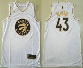 Men's Toronto Raptors #43 Pascal Siakam White Golden Nike Swingman Stitched NBA Jersey