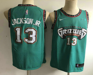 Men's Memphis Grizzlies #13 Jaren Jackson Jr. Nike 2019 Green Throwback Swingman Jersey With The Sponsor Logo