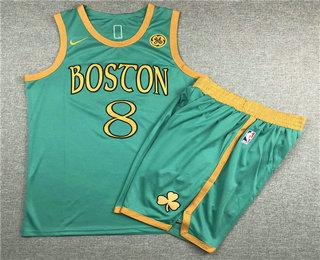 Men's Boston Celtics #8 Kemba Walker NEW Green Nike 2020 Swingman Stitched NBA Jersey With Shorts