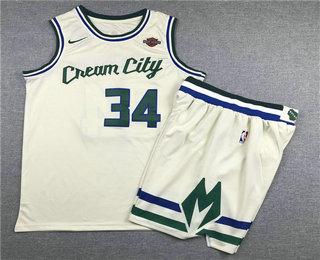 Men's Milwaukee Bucks #34 Giannis Antetokounmpo Cream 2020 City Edition NBA Swingman Jersey With Shorts