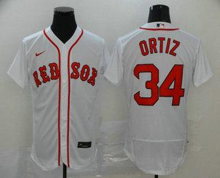 Men's Boston Red Sox #34 David Ortiz White Stitched MLB Flex Base Nike Jersey