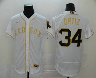 Men's Boston Red Sox #34 David Ortiz White With Gold Stitched MLB Flex Base Nike Jersey
