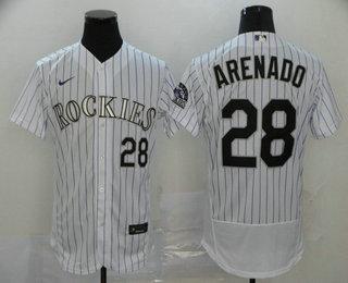 Men's Colorado Rockies #28 Nolan Arenado White Stitched MLB Flex Base Nike Jersey