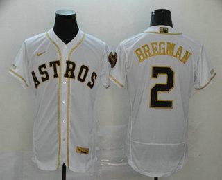 Men's Houston Astros #2 Alex Bregman White With Gold Stitched MLB Flex Base Nike Jersey