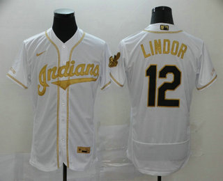 Men's Cleveland Indians #12 Francisco Lindor White With Gold Stitched MLB Flex Base Nike Jersey