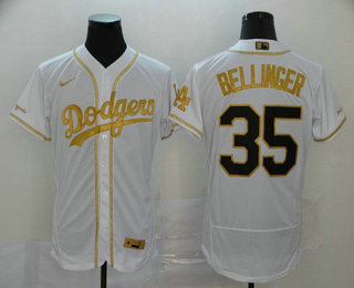 Men's Los Angeles Dodgers #35 Cody Bellinger White With Gold Stitched MLB Flex Base Nike Jersey