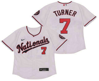 Men's Washington Nationals #7 Trea Turner White Stitched MLB Flex Base Nike Jersey
