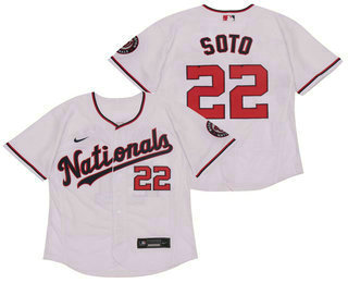 Men's Washington Nationals #22 Juan Soto White Stitched MLB Flex Base Nike Jersey