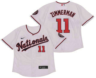 Men's Washington Nationals #11 Ryan Zimmerman White Stitched MLB Flex Base Nike Jersey