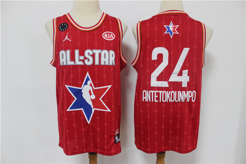 Men's Milwaukee Bucks #24 Giannis Antetokounmpo Red Jordan Brand 2020 All-Star Game Swingman Stitched NBA Jersey