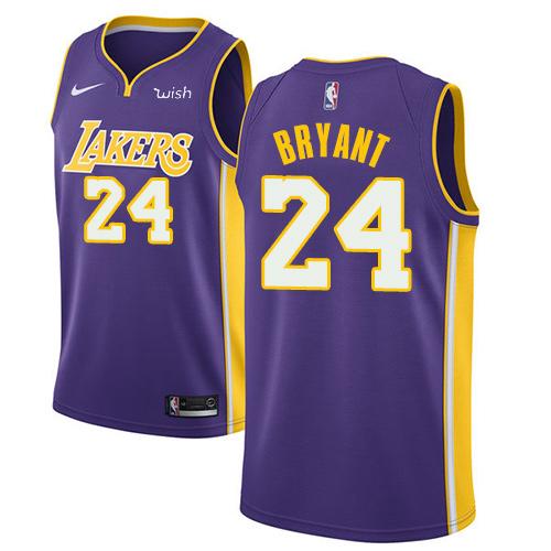 Men's Los Angeles Lakers #24 Kobe Bryant 2017-2018 Purple Nike Swingman Stitched NBA Jersey
