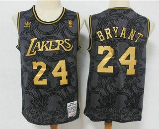 Men's Los Angeles Lakers #24 Kobe Bryant Black Golden Hardwood Classics Soul Swingman Throwback Jersey