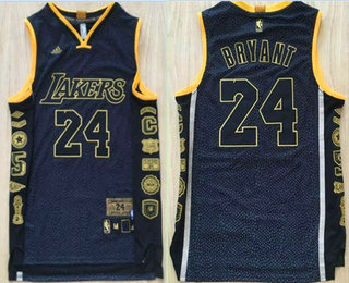 Men's Los Angeles Lakers #24 Kobe Bryant Black Retired Commemorative Soul Swingman Jersey