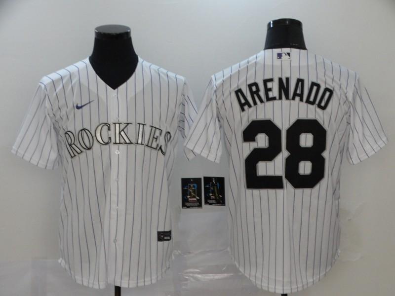 Men's Colorado Rockies #28 Nolan Arenado White Stitched MLB Cool Base Nike Jersey