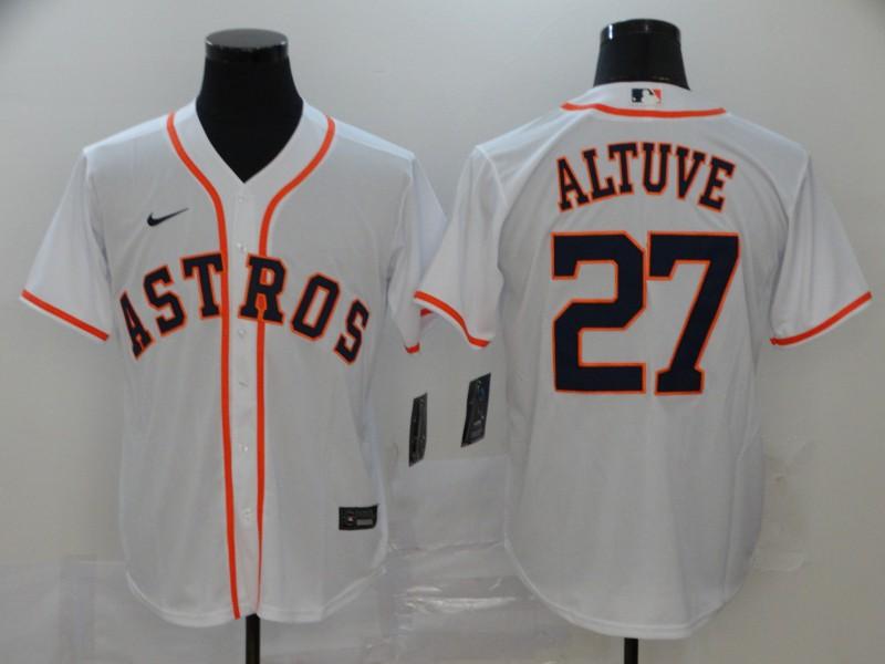 Men's Houston Astros #27 Jose Altuve White Stitched MLB Cool Base Nike Jersey