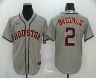 Men's Houston Astros #2 Alex Bregman Gray Stitched MLB Cool Base Nike Jersey