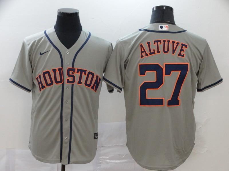 Men's Houston Astros #27 Jose Altuve Gray Stitched MLB Cool Base Nike Jersey