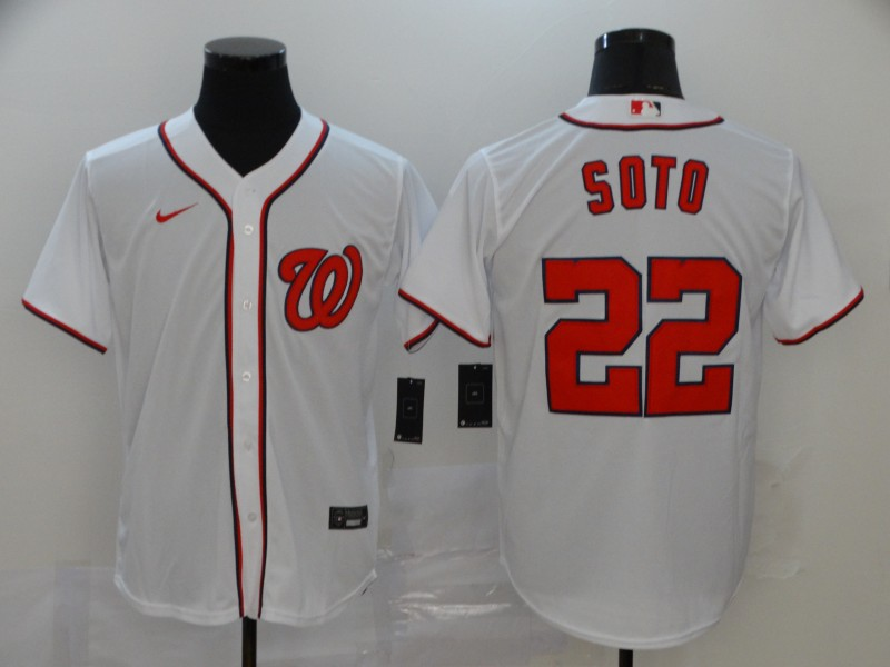 Men's Washington Nationals #22 Juan Soto White Stitched MLB Cool Base Nike Jersey