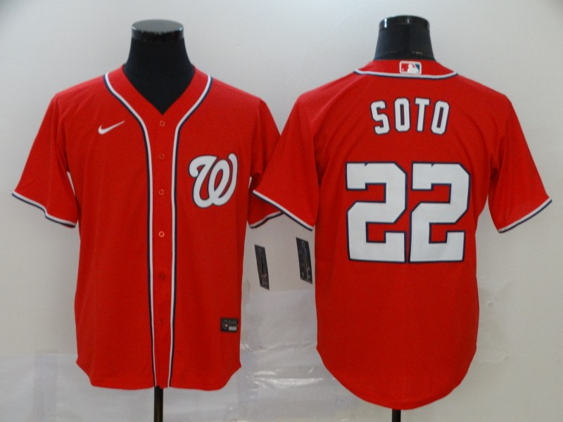 Men's Washington Nationals #22 Juan Soto Red Stitched MLB Cool Base Nike Jersey