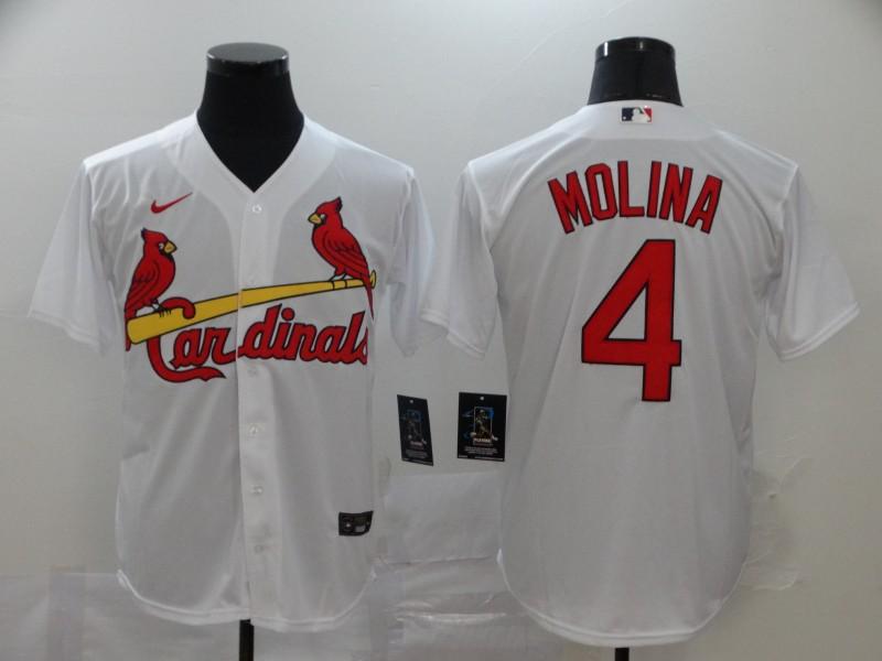 Men's St. Louis Cardinals #4 Yadier Molina White Stitched MLB Cool Base Nike Jersey