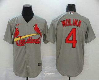 Men's St. Louis Cardinals #4 Yadier Molina Gray Stitched MLB Cool Base Nike Jersey