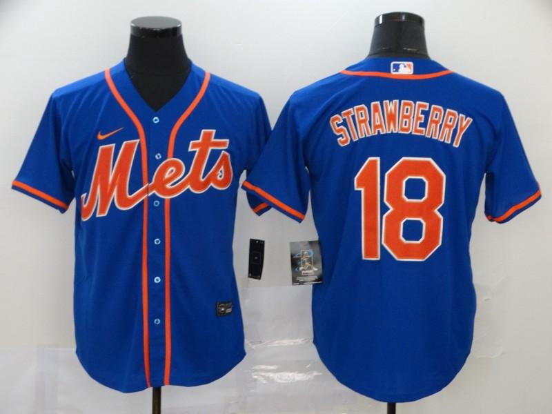 Men's New York Mets #18 Darryl Strawberry Blue Stitched MLB Cool Base Nike Jersey
