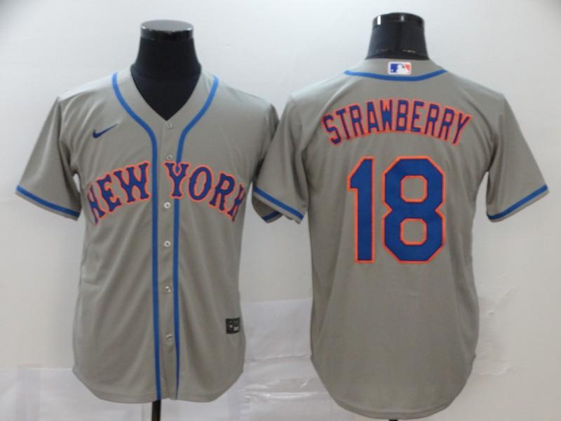 Men's New York Mets #18 Darryl Strawberry Gray Stitched MLB Cool Base Nike Jersey
