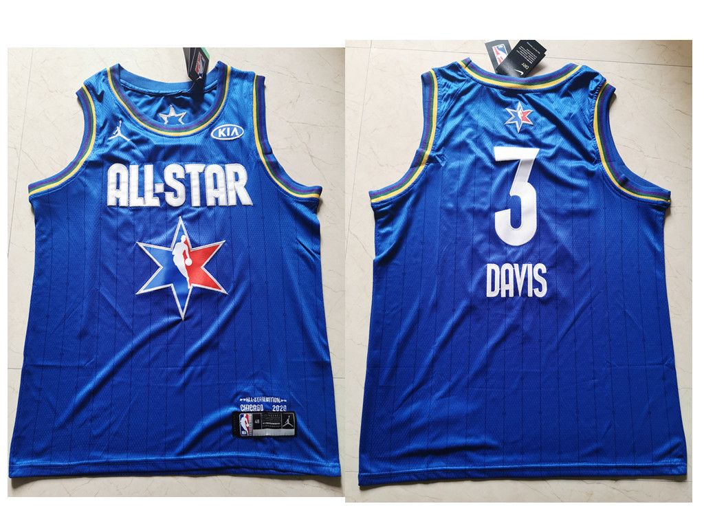Men's Los Angeles Lakers #3 Anthony Davis Blue Jordan Brand 2020 All-Star Game Swingman Stitched NBA Jersey