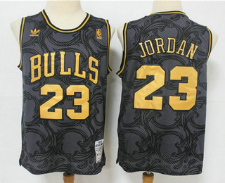 Men's Chicago Bulls #23 Michael Jordan Black Golden Hardwood Classics Soul Swingman Throwback Jersey