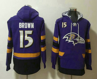 Men's Baltimore Ravens #15 Marquise Brown NEW Purple Pocket Stitched NFL Pullover Hoodie