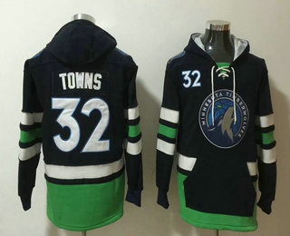 Men's Minnesota Timberwolves #32 Karl-Anthony Towns NEW Black Pocket Stitched NBA Pullover Hoodie