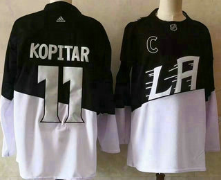 Men's Los Angeles Kings #11 Anze Kopitar Black 2020 Stadium Series Adidas Stitched NHL Jersey