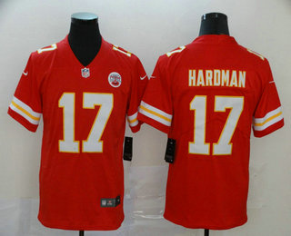 Men's Kansas City Chiefs #17 Mecole Hardman Red 2017 Vapor Untouchable Stitched NFL Nike Limited Jersey