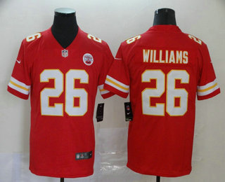 Men's Kansas City Chiefs #26 Damien Williams Red 2017 Vapor Untouchable Stitched NFL Nike Limited Jersey