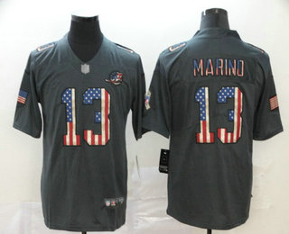 Men's Miami Dolphins #13 Dan Marino 2019 Black Salute To Service USA Flag Fashion Limited Jersey
