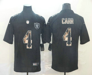 Men's Oakland Raiders #4 Derek Carr Black Statue Of Liberty Stitched NFL Nike Limited Jersey