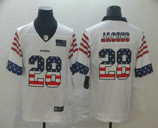 Men's Oakland Raiders #28 Josh Jacobs White Independence Day Stars & Stripes Jersey